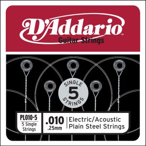 D'Addario PL010-5 Plain Steel Guitar Single String, .010 5-pack