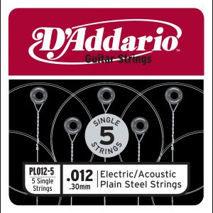 D'Addario PL012-5 Plain Steel Guitar Single String, .012 5-pack