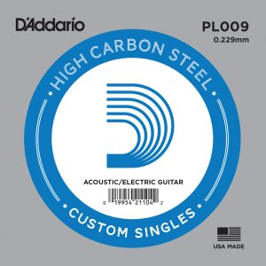 D'Addario PL009 Plain Steel Guitar Single String, .009