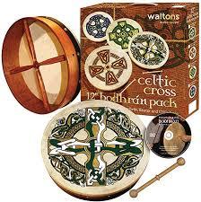 Waltons 18″ Celtic Design Bodhran Pack | Gaelic Cross