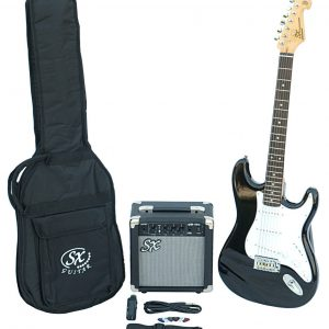SX SE1 Strat Style Guitar Pack | Black