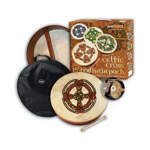 Waltons 15″ Celtic Cross Bodhrán Pack | Knotwork Cross